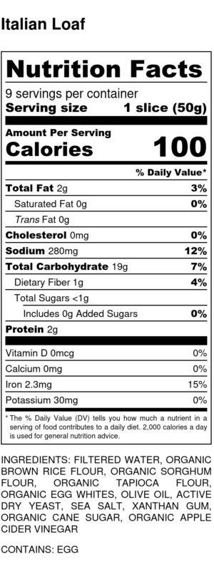 Italian Loaf Nutrition Label
