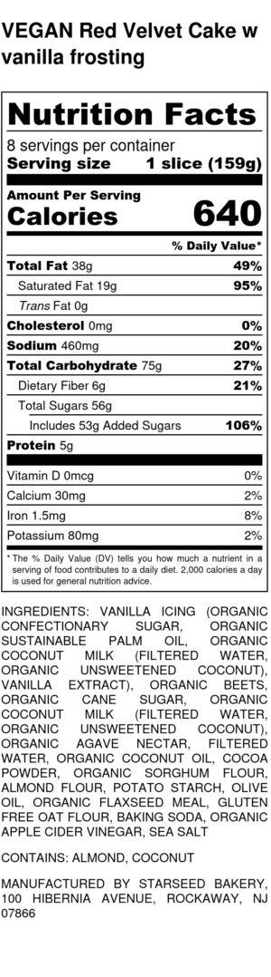 Vegan Red Velvet Cake W Vanilla Frosting Nutrition Label (1)