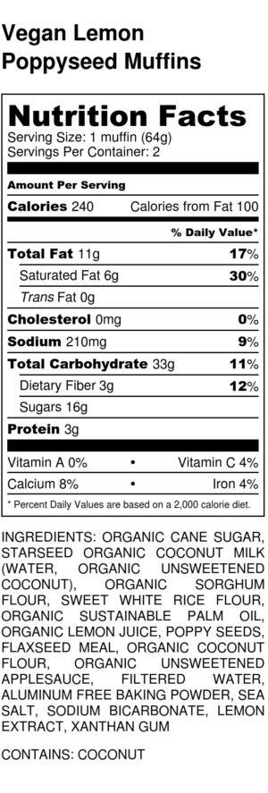Vegan Lemon Poppyseed Muffins Nutrition Label