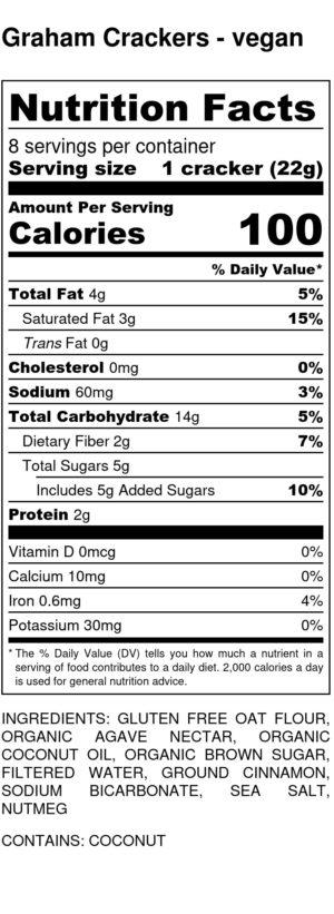 Graham Crackers Vegan Nutrition Label